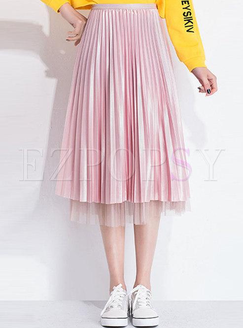 Solid Color Elastic Waist Pleated Skirt