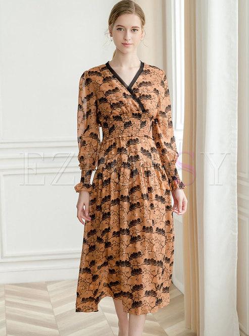 Print V-neck Flouncing Casual Maxi Dress