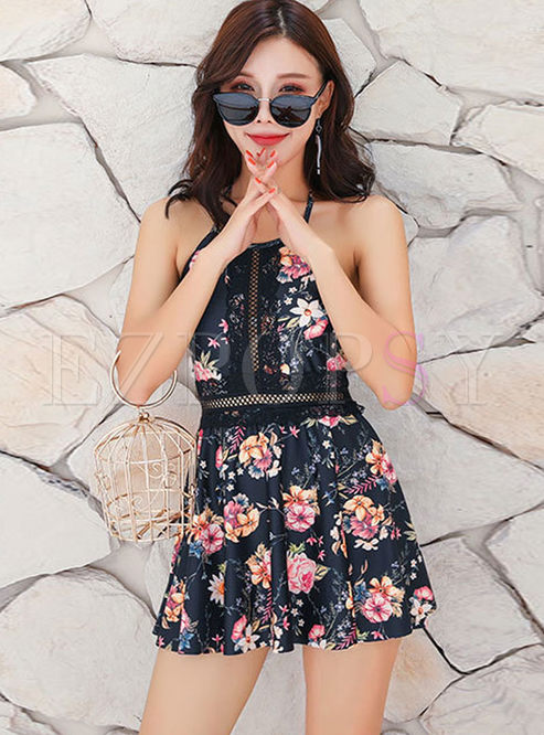 Chic Halter Hollow Out Print Swimwear