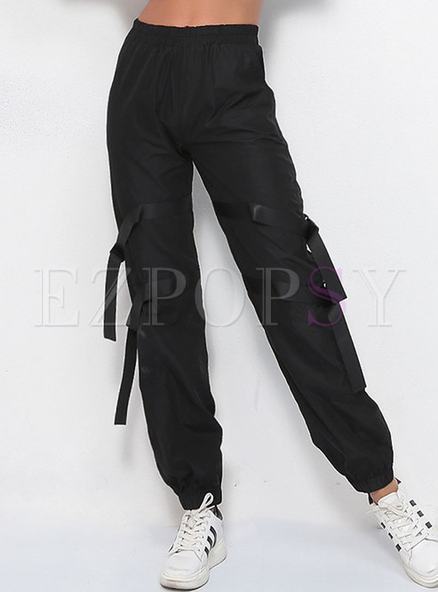Casual Elastic Waist Patchwork Harme Pants