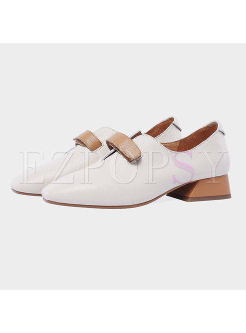 Color-blocked Square Toe Chunky Heel Daily Shoes