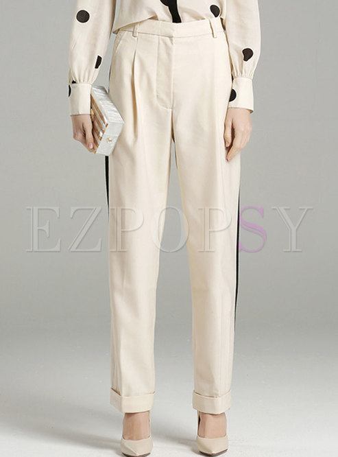 Brief Color-blocked Straight Pants