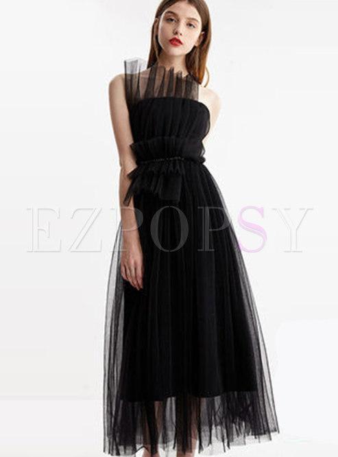 Elegant Black Gauze Gathered Waist Tube Dress