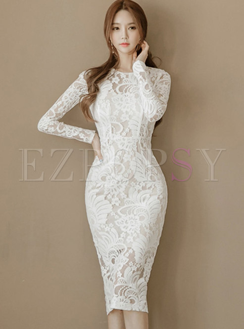 White Lace O-neck Long Sleeve Bodycon Dress