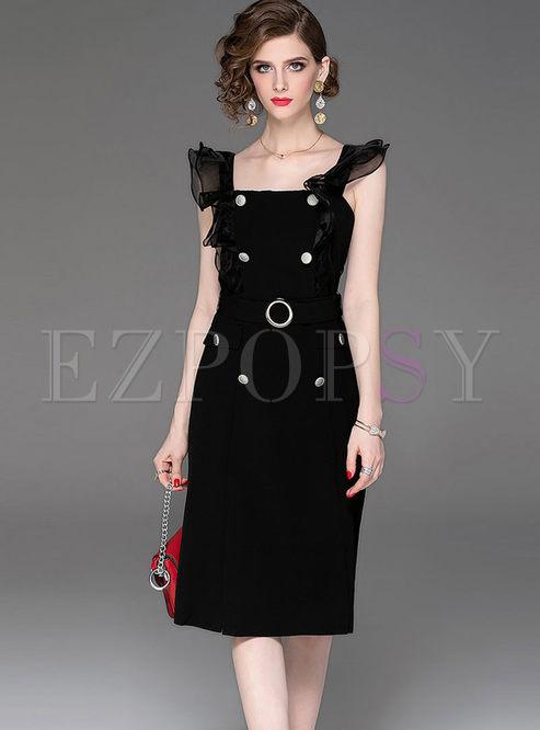 12fba8b760650 Skater Dresses.   Black Sexy Square Neck Sleeveless Dress