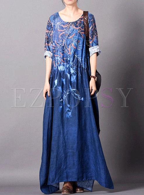 Retro Print O-neck Gathered Waist Hem Maxi Dress