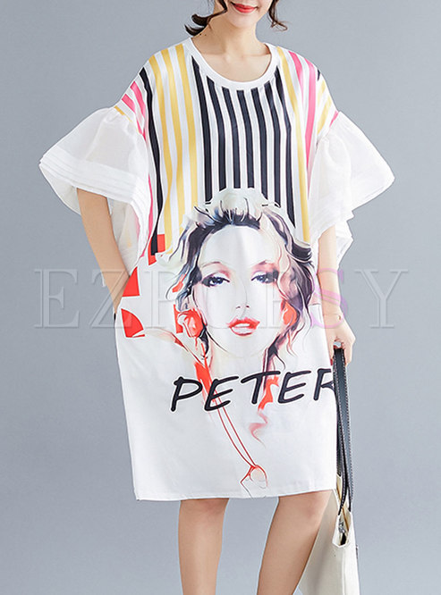 Stylish O-neck Slim Flare Sleeve T-shirt Dress