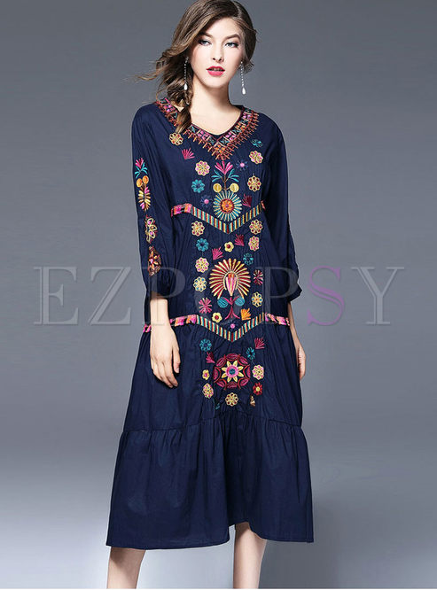 Ethnic V-neck Loose Embroidered Maxi Dress