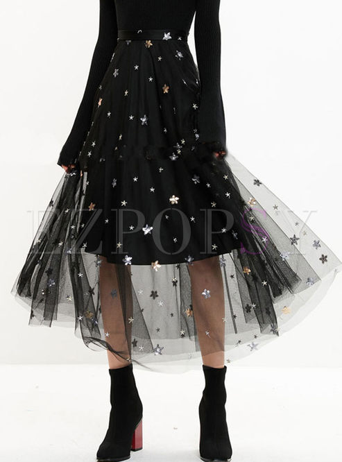 High Waist Star Sequined Mesh Skirt