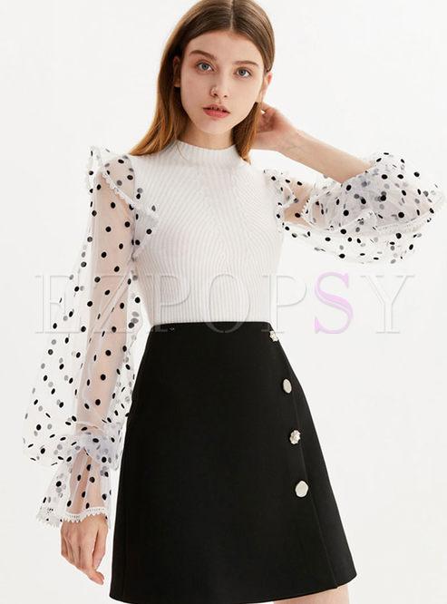 Polka Dot Mesh Long Sleeve Knitted Top