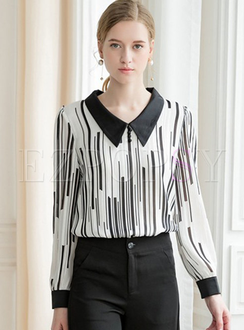 Color-blocked Striped Lapel Pullover Blouse