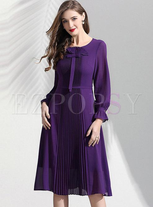 Elegant Flare Sleeve Pleated Skater Dress