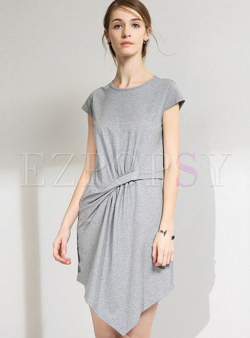 Asymmetric Pure Color Casual Short Sleeve T-shirt Dress