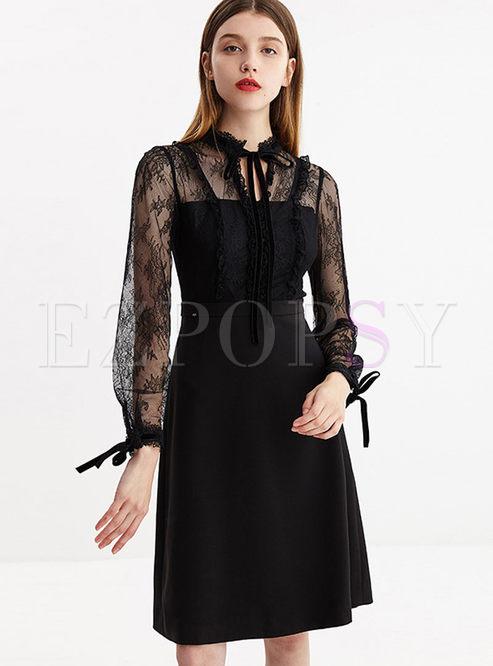 Black Lace Splicing Waist Skater Dress