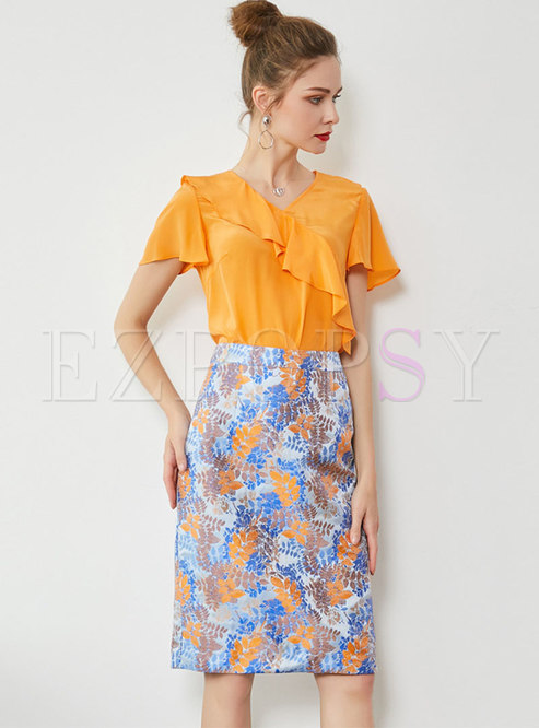 V-neck Falbala Top & Print High Waist Sheath Skirt
