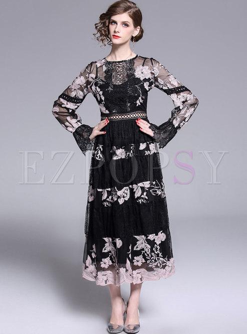 Hollow Out Splicing Embroidered High Waist Maxi Dress