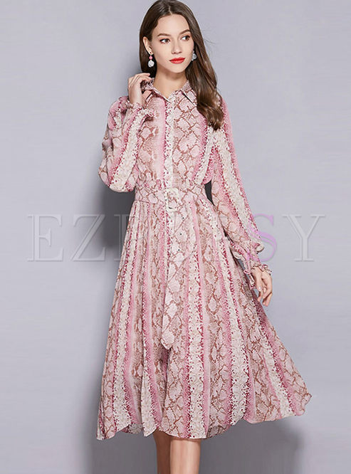 Casual Lapel Waist Big Hem Print Dress