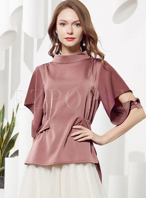 Standing Collar Long Sleeve T-shirt