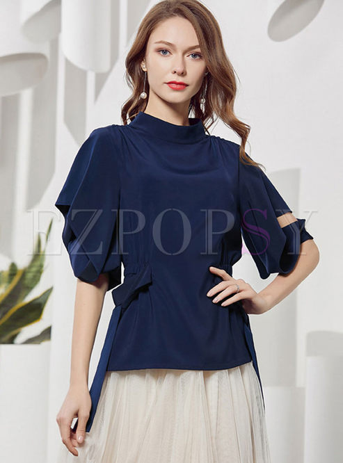 Solid Color Bat Sleeve Casual T-shirt
