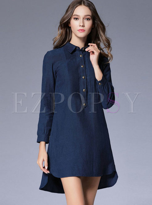 Pure Color Lapel Long Sleeve Shirt Dress