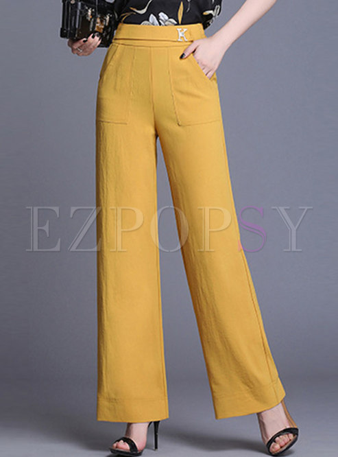Solid Color Elastic Waist Wide Leg Pants