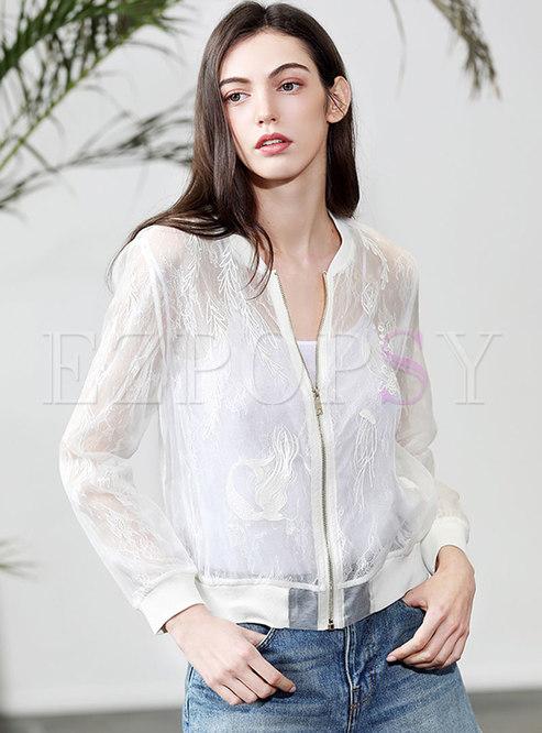 White Lace Organza Embroidered Silk Coat