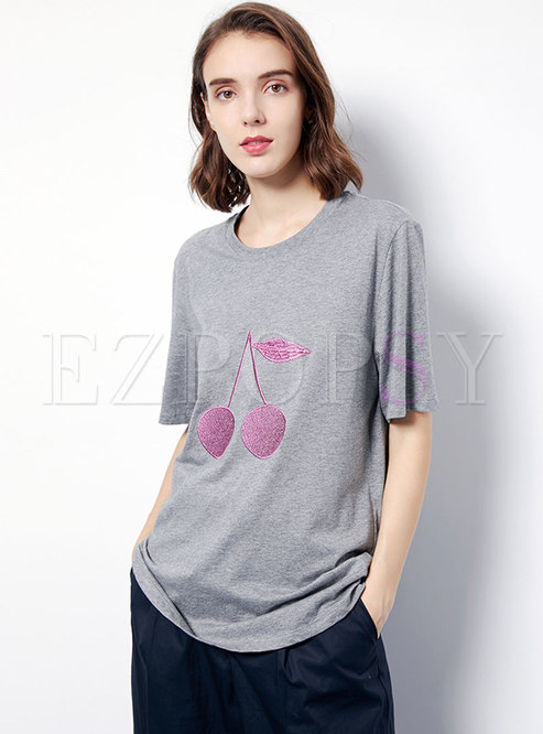Fashion Embroidered Casual Cotton T-shirt