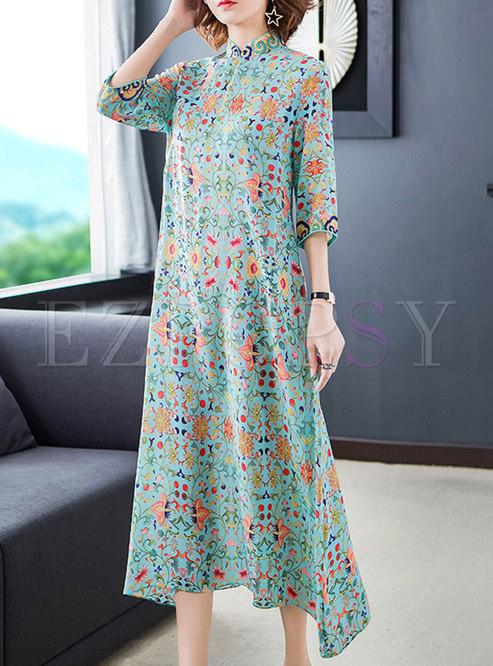 Vintage Floral Mandarin Collar Shift Dress