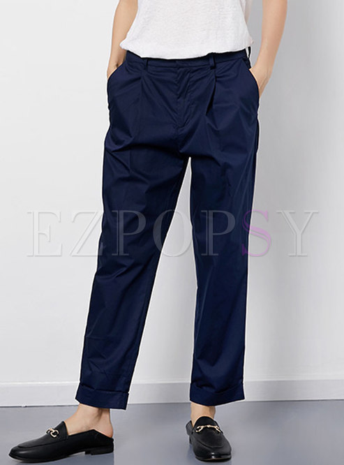 Pure Color Cotton Casual Straight Pants