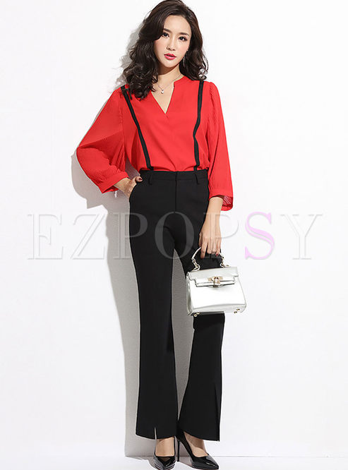 Casual V-neck Chiffon Blouse & Flare Pants