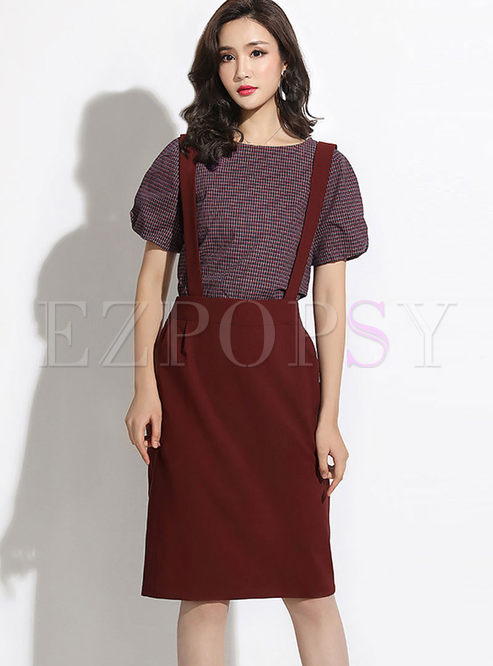 O-neck Lantern Sleeve Slim Two Piece Outfits