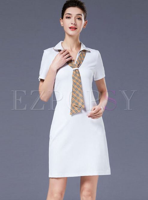 Brief Lapel Short Sleeve Bodycon Dress