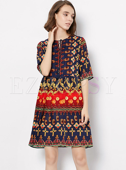 Half Sleeve Ethnic Style Tied Print Shift Dress