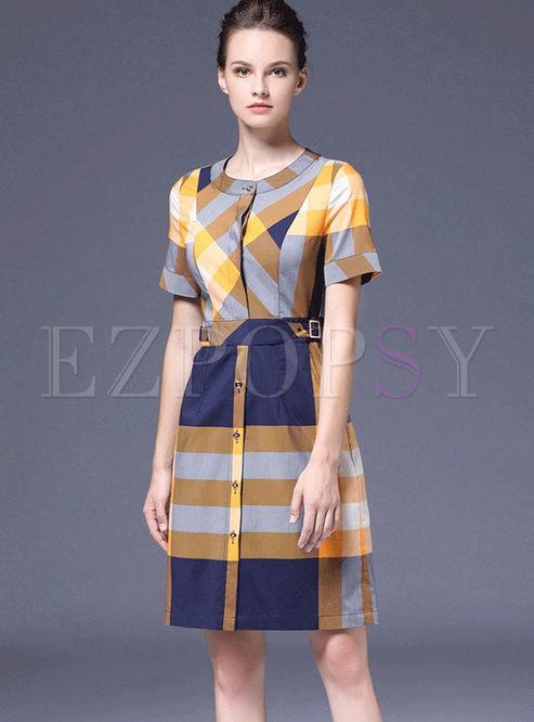Brief O-neck Single-breasted Slim Dress