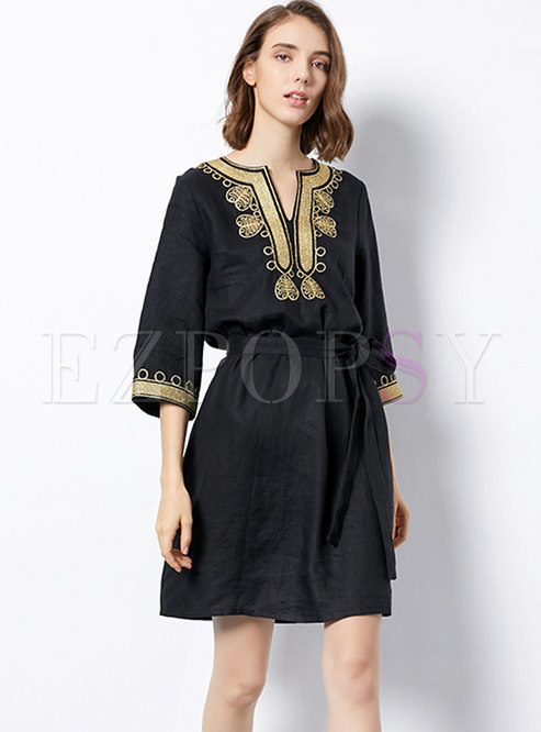 V-neck Ethnic Embroidered Linen A-line Dress