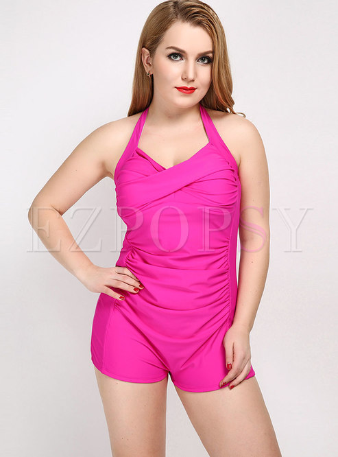 Sexy Solid Color Halter Neck One Piece Swimwear