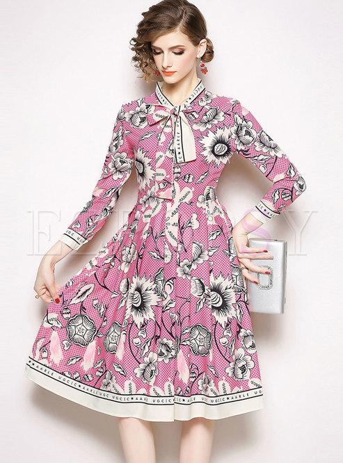 Stylish Print Tie-collar High Waist Skater Dress