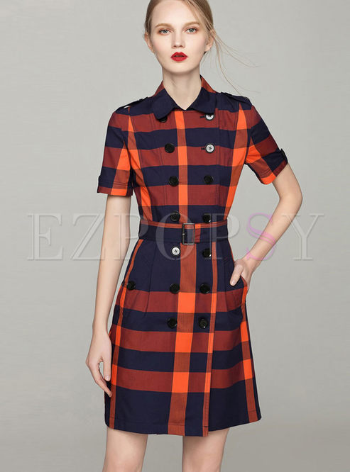 Casual Plaid Double-breasted Slim Dress