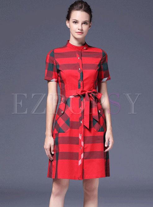 Stylish Short Sleeve Plaid Skater Dress