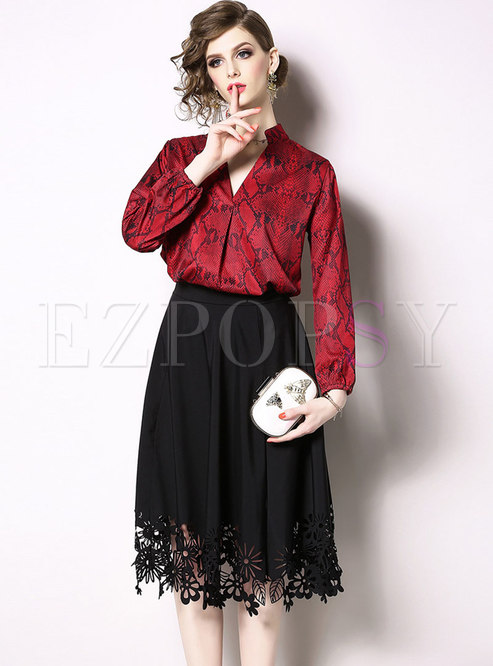 Print V-neck Pullover Blouse & High Waist A Line Skirt