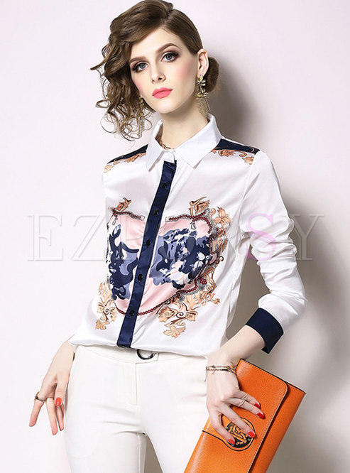 Chic Color-blocked Lapel Print Single-breasted Blouse