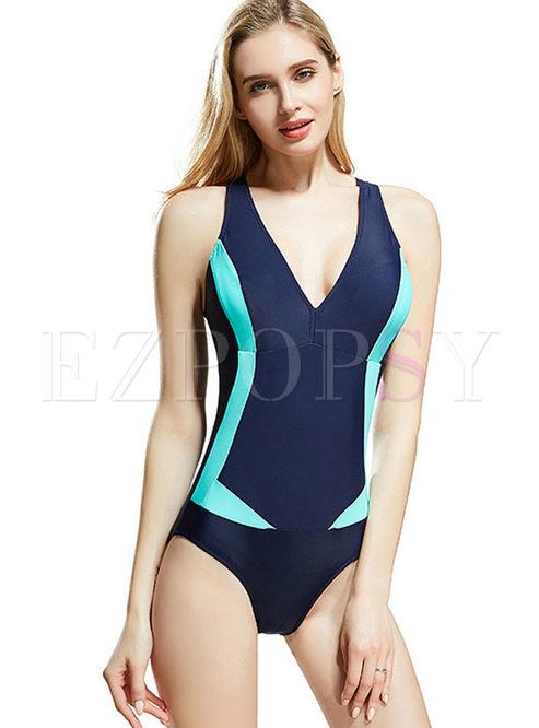V-neck Backless Color-blocked Swimwear