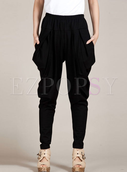 Black High Waisted Knitted Harem Pants