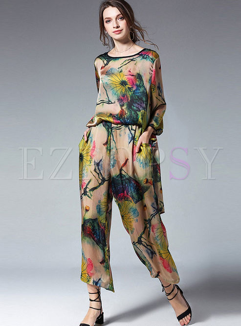 O-neck Pullover Print Silk Two Piece Outfits