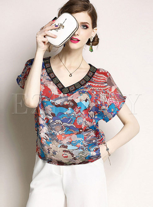 Vintage V-neck Short Sleeve Print T-shirt