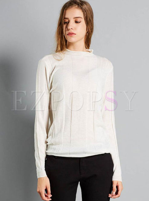 Solid Color Pullover Slim Sweater