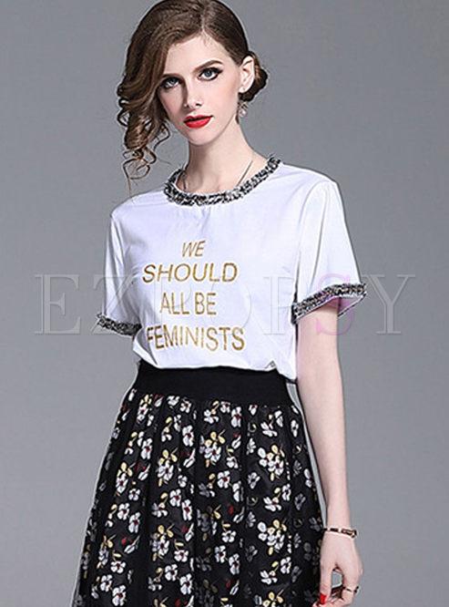 Fashion O-neck Tassel Splicing T-shirt