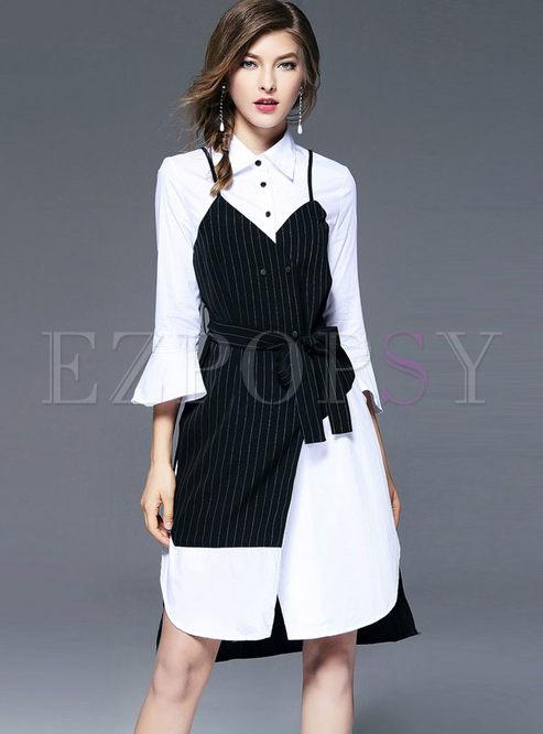 Casual Lapel Flare Sleeve Shirt Dress