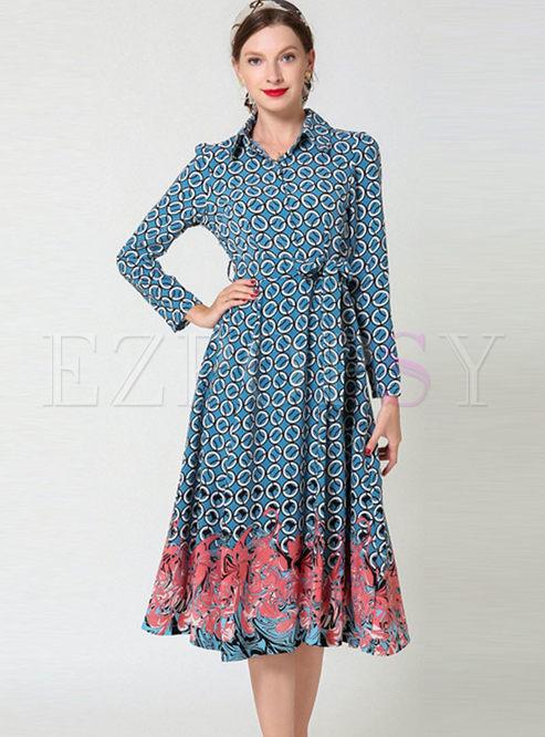Casual Lapel Bowknot Waist Big Hem Dress