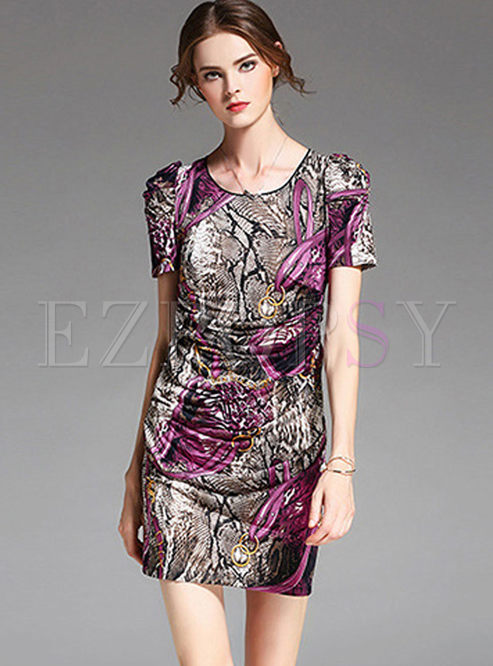 Retro O-neck Short Sleeve Slim Dress